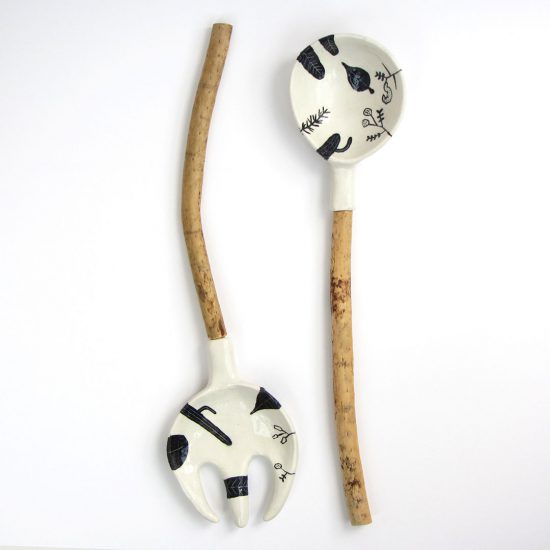 cuchara porcelana madera cerámica ilustrada artesanal