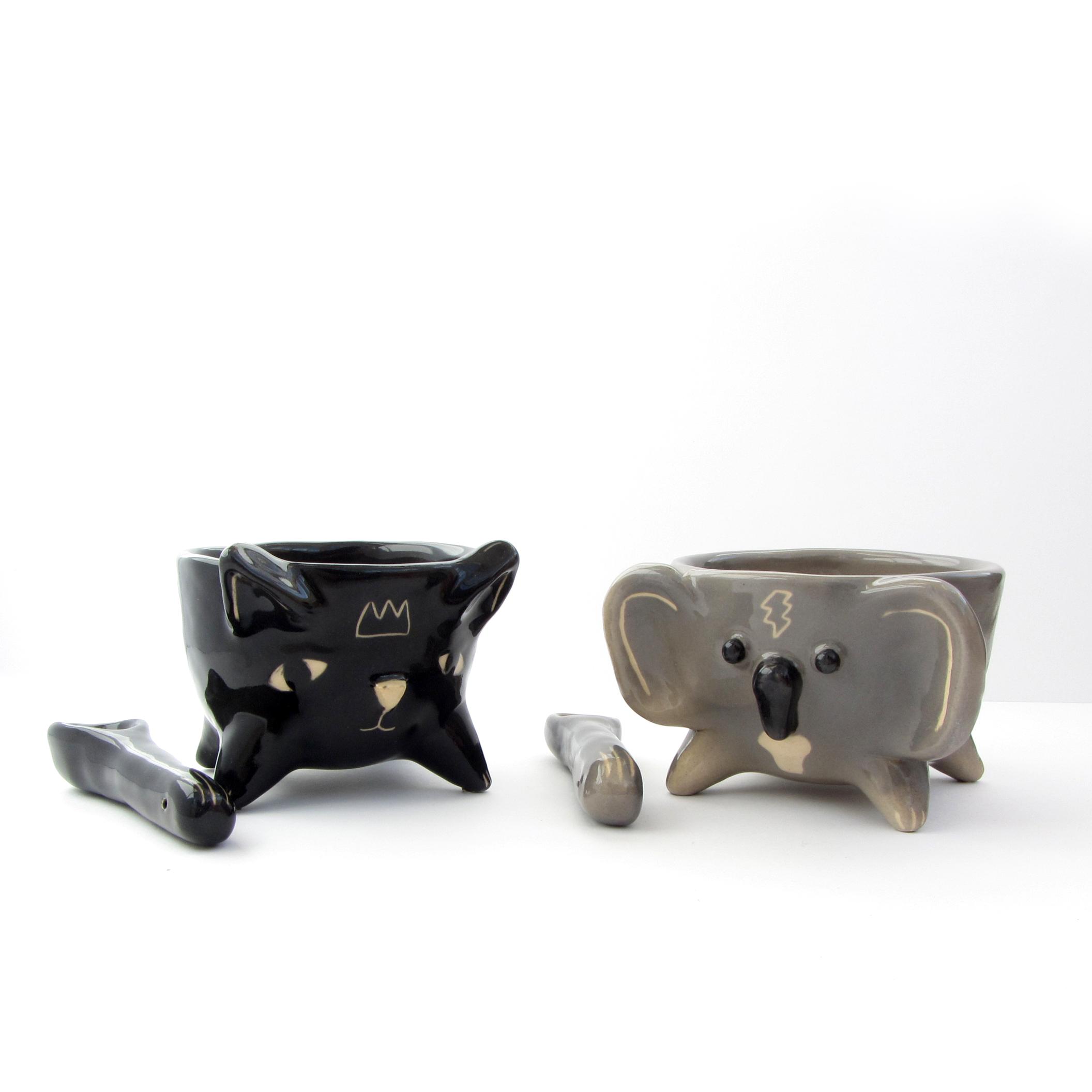 taza cuchara gato koala cerámica artesanal