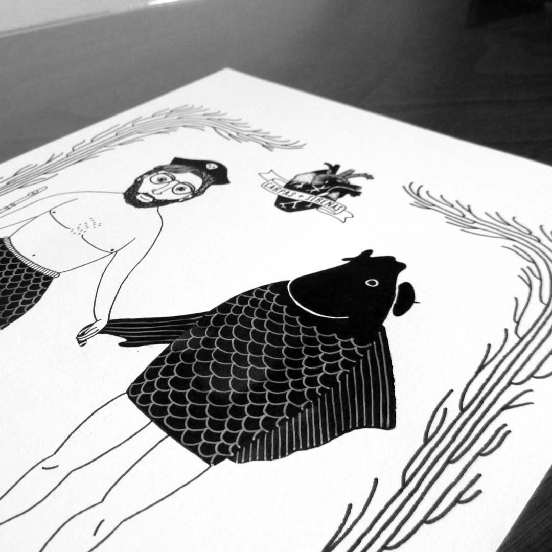 Carpas Sirenas ilustración tinta parker