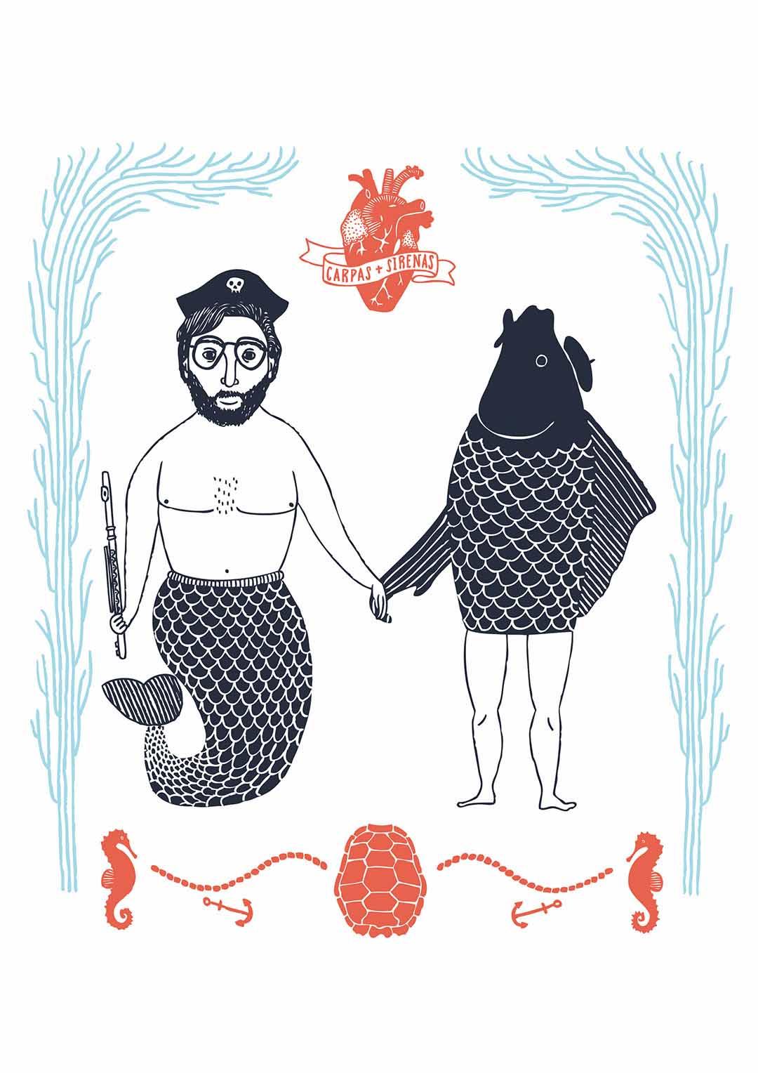 Carpas Sirenas ilustración