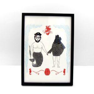 Carpas Sirenas ilustración lámina print