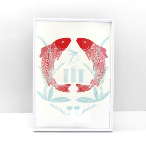 Truchas ilustración lámina print