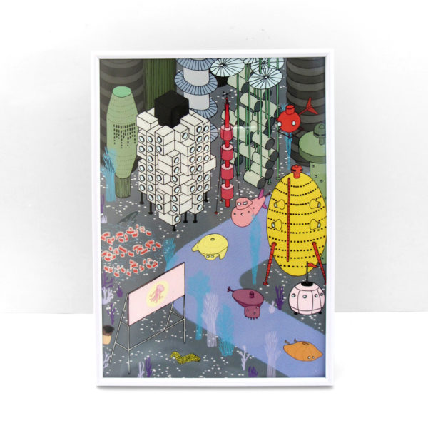 Postatlántida Atlántida posmoderna arquitectura ilustración lámina print