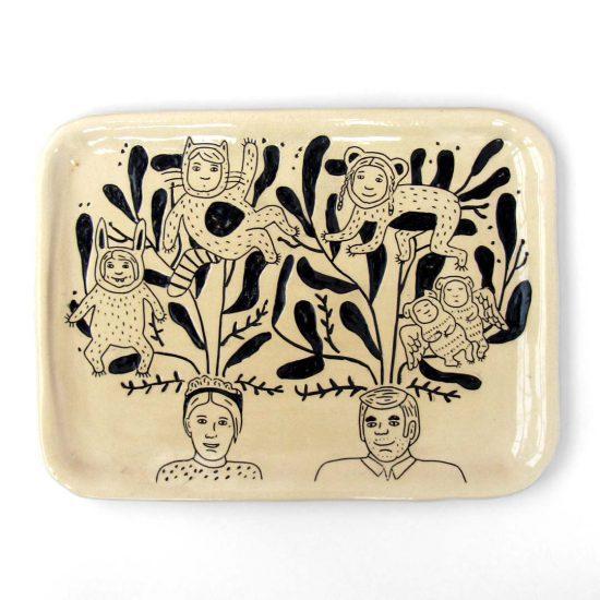 bandeja niños fiera cerámica ilustrada artesanal mishima