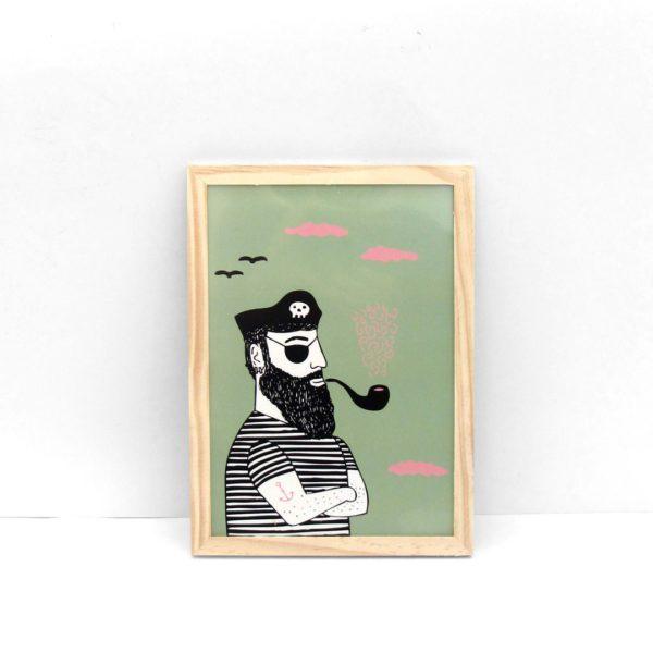 Pirata interesante ilustración lámina print