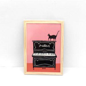 Gato jazz ilustración lámina print