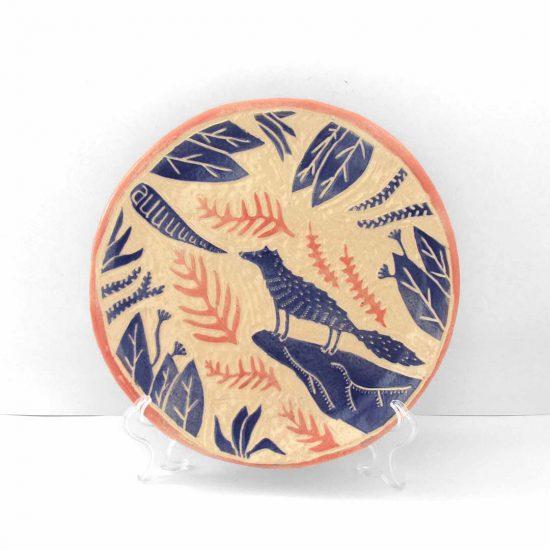 Plato lobo cerámica ilustrada artesanal esgrafiado