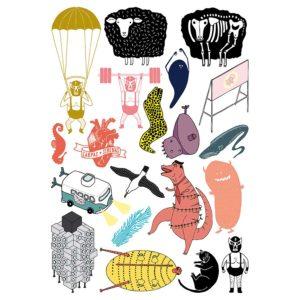 Pegatinas ilustración Blaurtopías