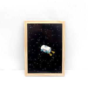 Rocket van viaje ilustración lámina print