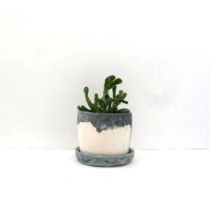 Maceta Anemoi cobalto bruñido cerámica artesanal