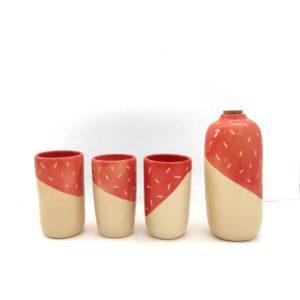 Botella vaso Polar rojo coral Cerámica artesanal