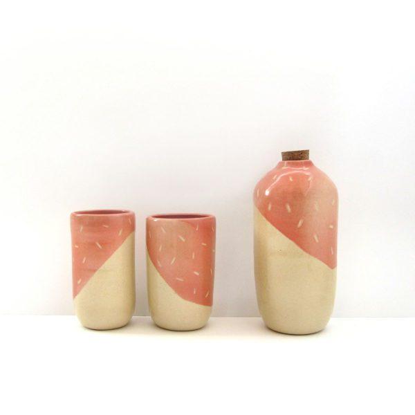 Botella vaso Polar naranja cantalupo Cerámica artesanal