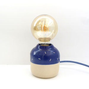 Lámpara Polar azul cobalto Cerámica artesanal diseño bombilla globo vintage